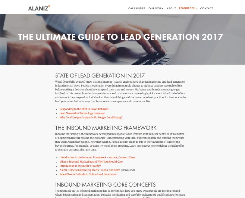 Alaniz Marketing pillar page