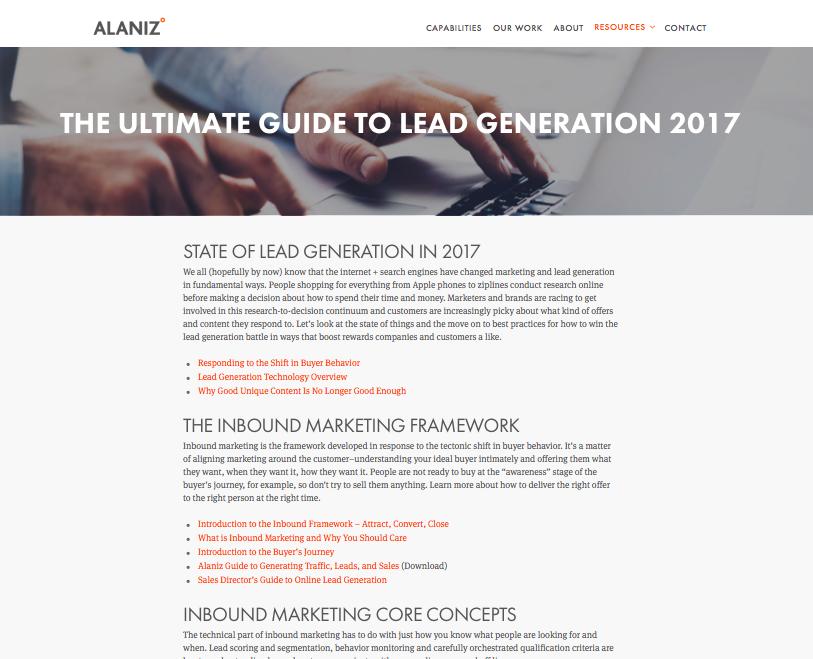 Alaniz Marketing pillar page